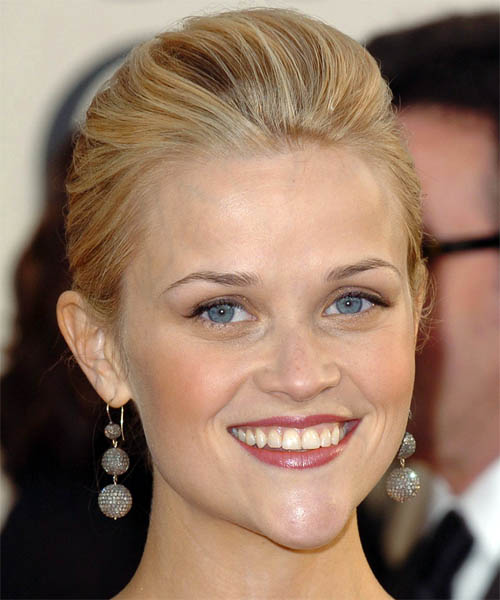 Reese Witherspoon Formal Medium Straight Updo Hairstyle