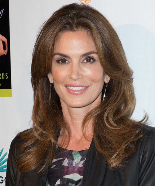 Cindy Crawford Long Straight Casual Hairstyle Brunette