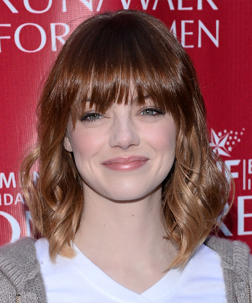 Emma Stone Medium Wavy Casual Hairstyle With Layered Bangs
