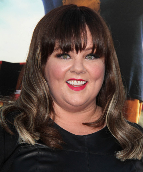 Melissa McCarthy Long Wavy Formal Hairstyle With Blunt Cut