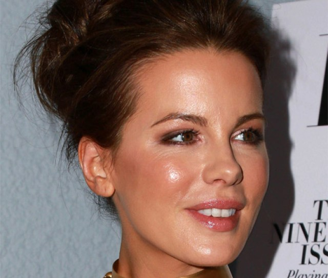 Kate Beckinsale Long Wavy Formal Updo Hairstyle Dark Brunette Hair Color Side On View