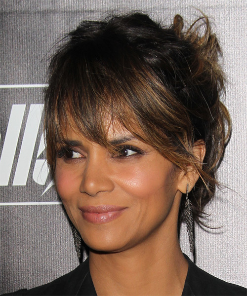 Halle Berry Long Straight Casual Updo Hairstyle With