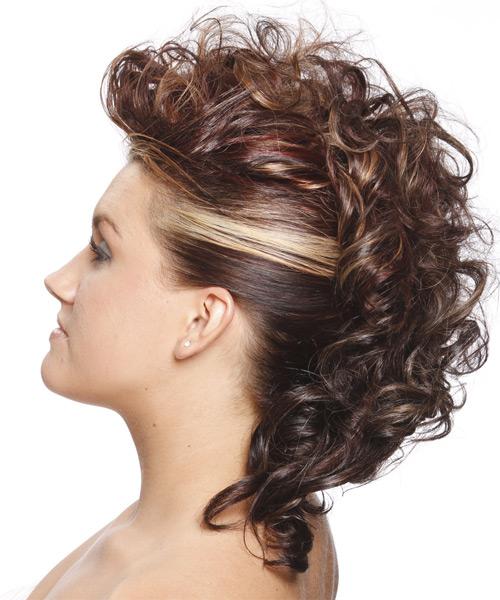 Medium Curly Alternative Updo Hairstyle Chestnut