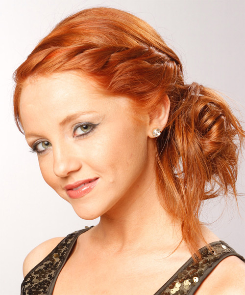 Formal Long Curly Braided Updo Hairstyle Ginger Red Hair