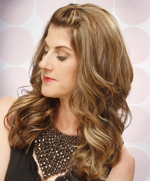Long Curly Formal Half Up Hairstyle Light Caramel