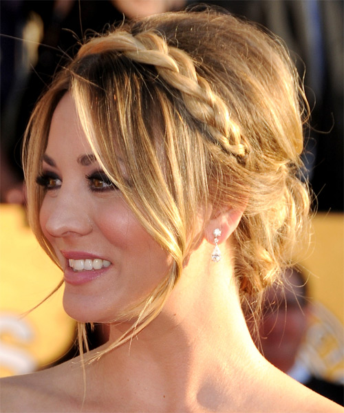 Kaley Cuoco Long Straight Formal Updo Hairstyle Ash