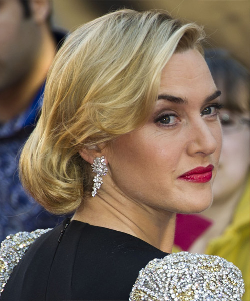 Kate Winslet Medium Curly Formal Updo Hairstyle Golden