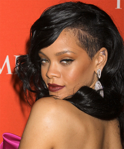 Rihanna Long Wavy Formal Hairstyle Black Hair Color