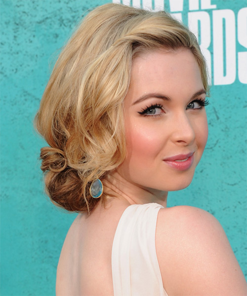 Kirsten Prout Medium Curly Casual Updo Hairstyle Blonde