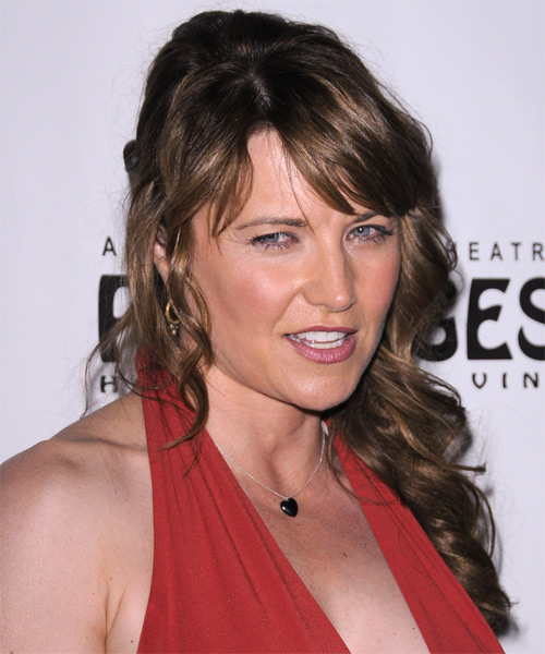 Lucy Lawless Long Curly Casual Half Up Hairstyle With Side