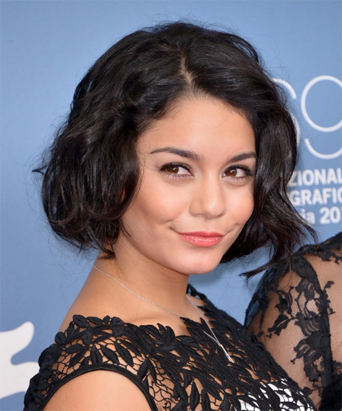Vanessa Hudgens Casual Short Wavy Bob Hairstyle Dark