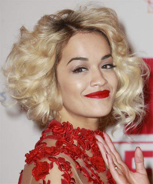 Rita Ora Short Curly Formal Hairstyle Light Blonde Hair