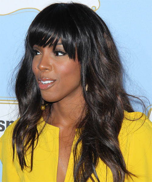 Kelly Rowland Casual Long Wavy Hairstyle With Blunt Cut