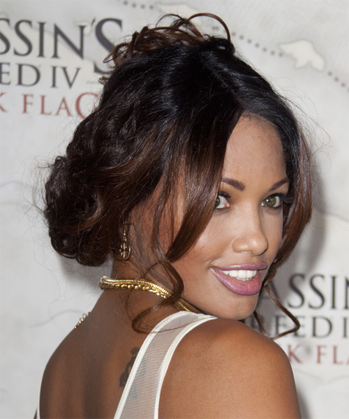 K D Aubert Casual Long Curly Updo Hairstyle Dark