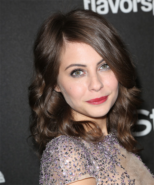 Willa Holland Medium Wavy Formal Hairstyle Brunette Hair