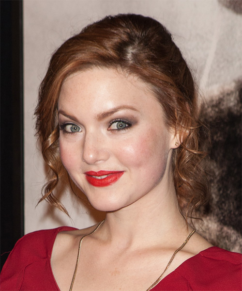 Holliday Grainger Medium Curly Formal Updo Hairstyle