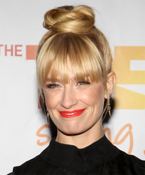 Beth Behrs Formal Long Straight Updo Hairstyle Light
