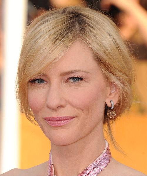 Cate Blanchett Long Straight Casual Updo Hairstyle Light