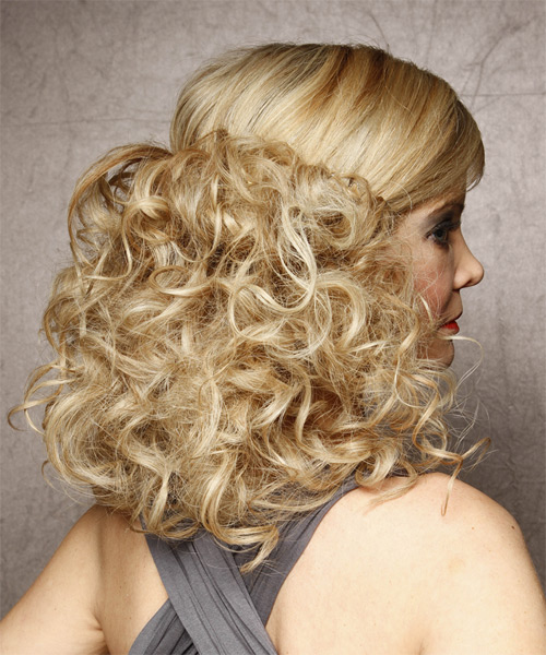 Formal Long Curly Half Up Hairstyle Light Honey Blonde