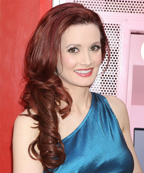 Holly Madison Long Wavy Formal Hairstyle Burgundy Red