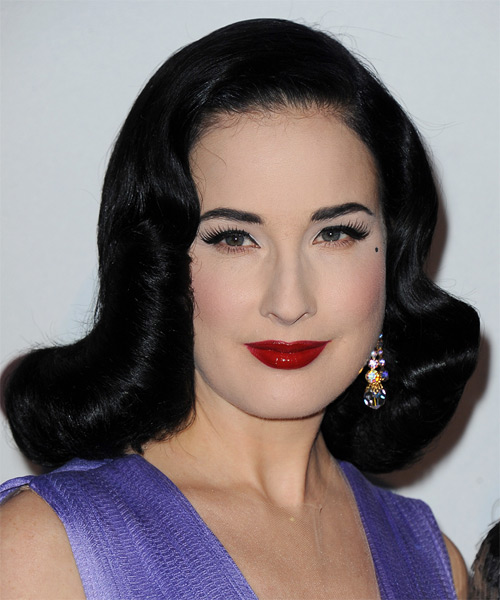 Dita Von Teese Medium Wavy Formal Hairstyle Black Hair Color