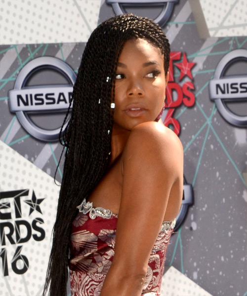 Gabrielle Union Long Curly Casual Braided Hairstyle