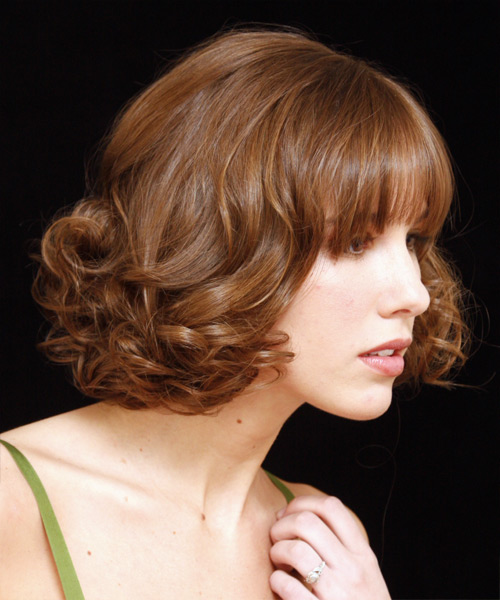 Medium Curly Formal Updo Hairstyle With Blunt Cut Bangs