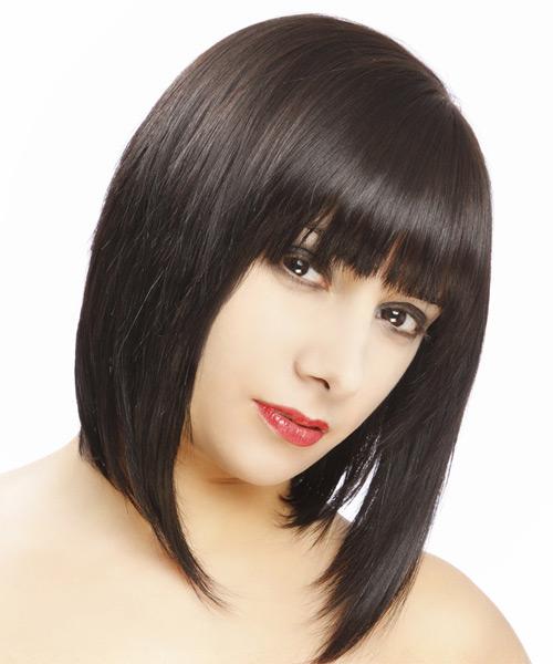 Medium Straight Formal Hairstyle Dark Brunette Hair Color