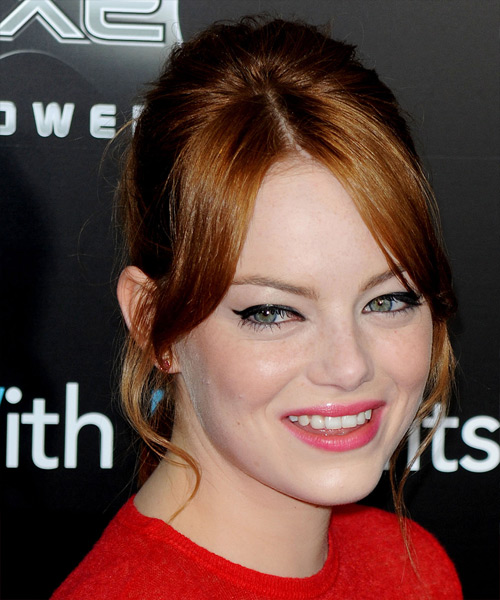 Emma Stone Long Straight Formal Updo Hairstyle With