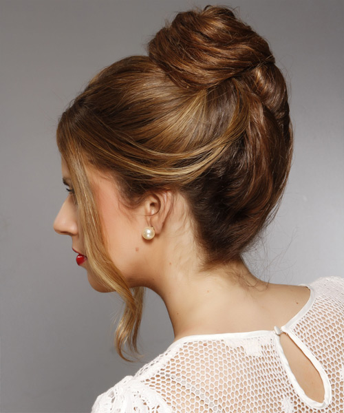 Long Straight Casual Updo Hairstyle Dark Brunette Hair