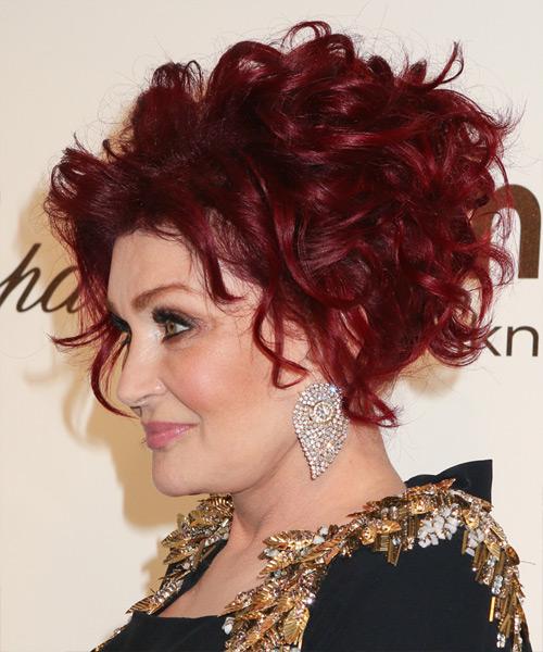 Sharon Osbourne Medium Curly Formal Updo Hairstyle Red