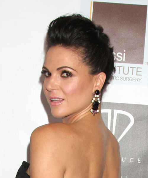 Lana Parrilla Long Straight Formal Updo Hairstyle Dark