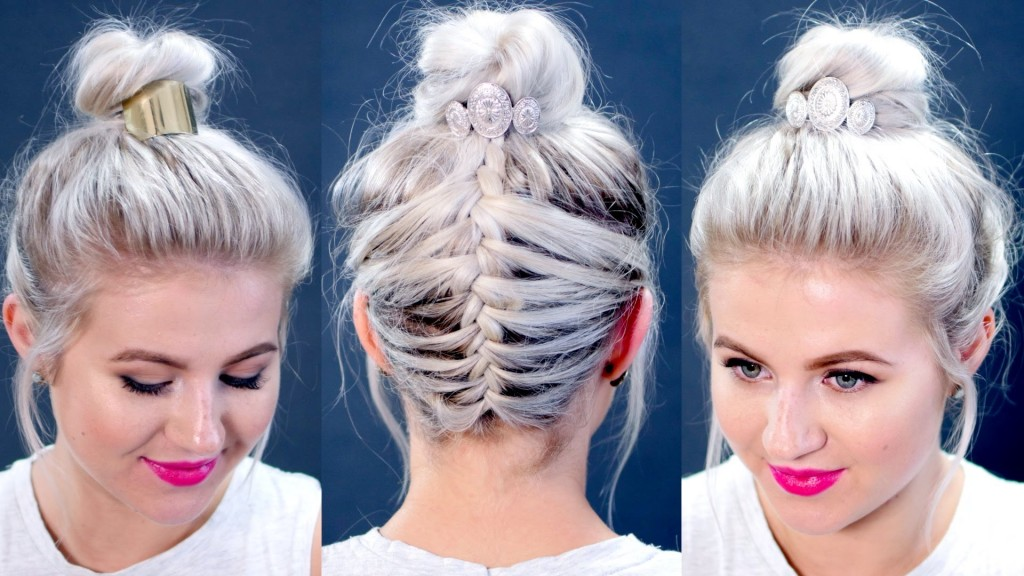 Short Hair Tutorial Messy Braided Top Knot Milabu