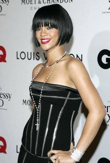 Rihanna black bob hairstyle