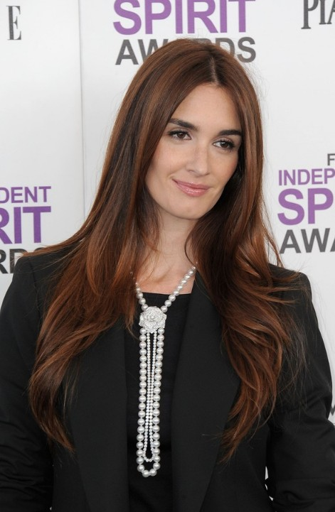 Paz Vega Center Part Red Hairstyle for Women