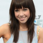 Cute Layered Long Hairstyle with Blunt Bangs
