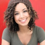 Cute medium wavy curly hairstyle for girls