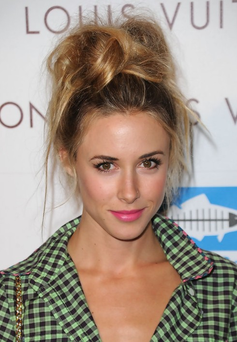 Gillian Zinser Messy Top Knot Updo Hairstyle