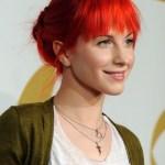 Hayley Williams Cute Red Loose Bun Updo With Blunt Bangs