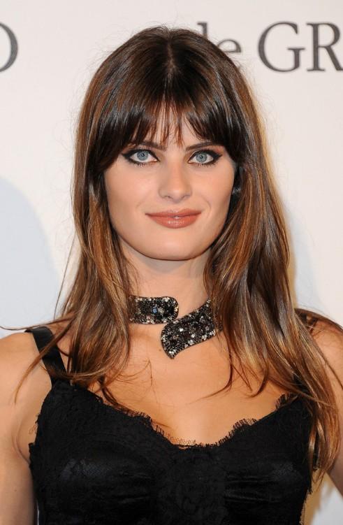 Isabeli Fontana Long Straight Hairstyle with Bangs