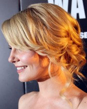Jennifer Morrison Romantic Loose Wavy Blonde Updo Hairstyle