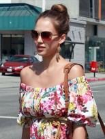 Jessica Alba Stylish High Bun Updo 2013 hairstyles