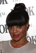 Top Knot Hairstyle with Bangs for Black Women