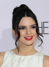 Kendall Jenner Black Messy Bun Updo with Long Tendrils 2013