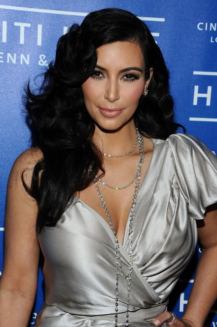 Kim Kardashian Curly Black Hairstyle for Long Hair