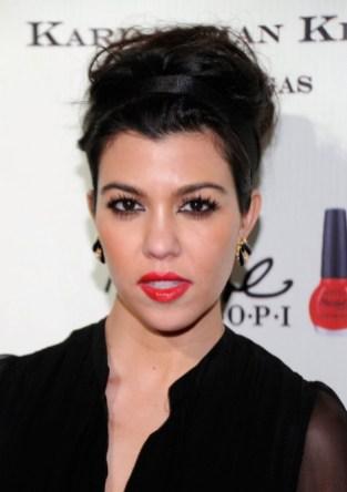 Kourtney Kardashian Casual Tousled Messy Updo