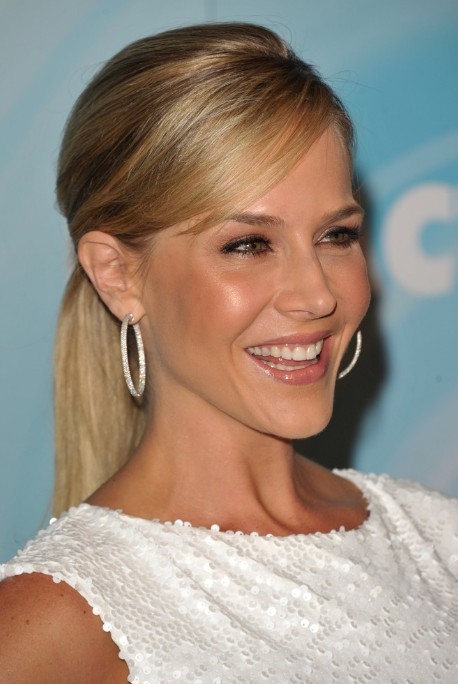 Long Sleek Ponytail Hairstyle with Side Swept Bangs