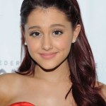 Ariana Grande Long Red Hairstyle with Braided Bangs