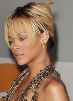 Rihanna French Twist Updo Hairstyle with Wispy Bangs