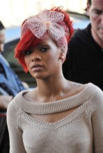 Rihanna Red Updo with Hair Bow